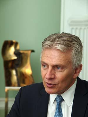 Wärtsilän konsernijohtaja Jaakko Eskola valotti yhtiön roolia meriklusterissa.